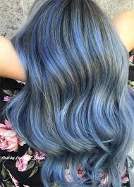 Subtle Blue Highlights 50 Magically Blue Denim Hair Colors You Will Love Fashionisers
