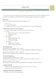 High School Resumes Resume Builder For High School Students