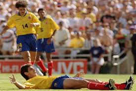 Colombia's captain, andrés escobar, lies on the ground after scoring an own goal at usa 94. Fifa World Cup Moments How Colombia S Andres Escobar S Own Goal Against Usa Cost Him His Life In 1994 Sports News Firstpost