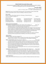 Mental Health Counseling Resume Samples And Cover Letter Entry Level