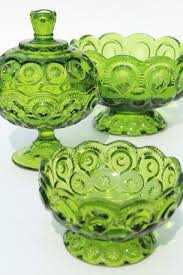 vintage moon and stars pattern green glass candy dishes instant collection