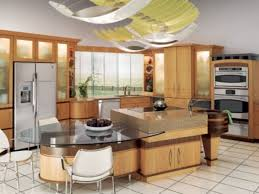 Center island with attached table. Kitchen ...