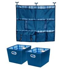 hanging organizer with 15 75in x 10 8in blue polyester bin