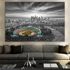 black white los angeles dodger chavez ravine wall art canvas on black white blue wall art with black white blue chavez ravine canvas zapwalls