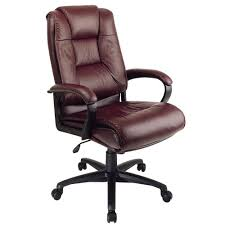 Work Smart Burgundy Leather High Back Executive Office Chair