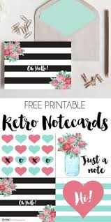 Free Printable Note Cards Free Printable Retro Notecards Free Printables Pinterest Free