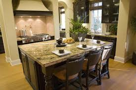 Dark Brown And Beige Kitchen Design With Matching Island With Eat In  Counter For Three