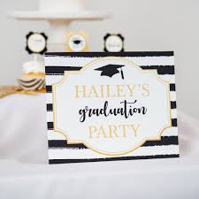 Black And Gold Graduation Party Signs Printable Studio