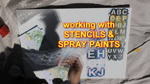 how to use stencils and spray paints with abstract painting techniques you