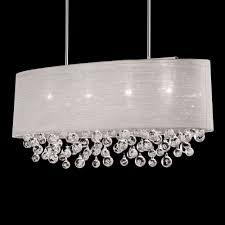 details about nib 4 lamp oval drum shade pendant with tear bubble chandelier l 36