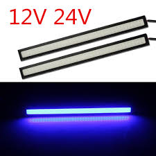 specifications power 9w each piece input voltage dc24v 12v material plastic and metal color blue vehicle universal size 17 4cmx 1 5cmx0 5cm l