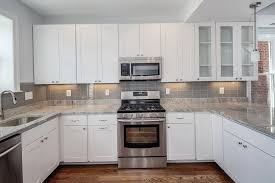 Wonderful Kitchen Backsplash Grey Subway Tile White Glass Home Design Ideas To Decorating