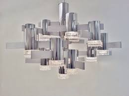 sciolari large vintage chandelier chrome glass brushed steel 1970 s ca italian in vintage chandeliers from roomscape