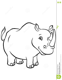 Coloring Pages Animals Cute Rhinoceros Stock Vector