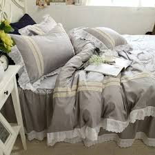 new grey lace bedding set lace ruffle duvet cover embroidery bedding elegant bedspread bed skirt princess