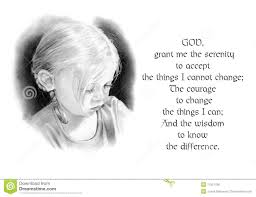Serenity Prayer With Pencil Drawing Of Girl Stock Illustration