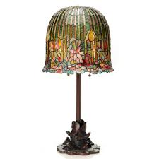 multi colored table lamp with tiffany style pond lily