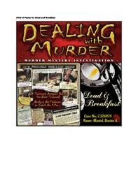 Dead And Breakfast Suspect Chart Answers Dealing With Murder Series 2 Cases Fatal Error And Dead Breakfast