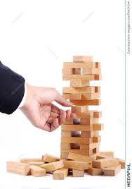 Wooden Brick Game Businessman Playing With The Wood Game Jenga On White Backgro 93