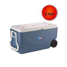 Small Blue Printer Garden Coleman 100 Quart Xtreme 5 Day Heavy Duty Cooler With Wheels Blue 2 Set 100 Quart Xtreme Blue