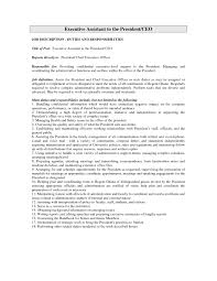 Executive Assistant Job Description Resume Sample Refrence Ceo