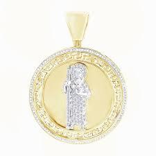 details about 0 60 ct d vvs1 diamond 18k yellow gold over pendant mens medallion charm