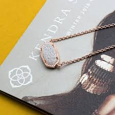 details about kendra scott elisa pendant necklace in iridescent drusy and rose gold plated