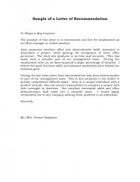 Samples Of Letter Recommendation Format Example For Student National