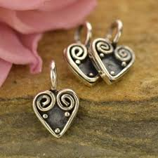 Scroll Heart Wire Scroll Heart With Granulation Sterling Silver 10 6x6 7mm 1 Pc