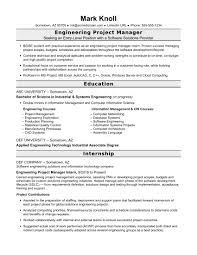 Sample resume for an entry-level engineering project manager