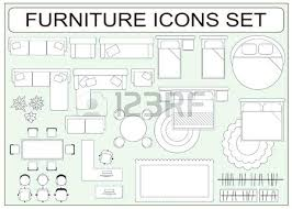 floor plan furniture vector. Icons Simple Furniture Floor Plan Outline Royalty Free Set Of Vector As Design Elements Sofa Table Computer Desk M