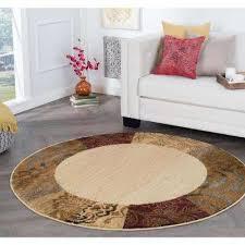 elegance beige 5 ft x 5 ft round indoor area rug
