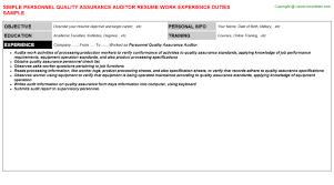 Personnel Quality Assurance Auditor Job Title Docs