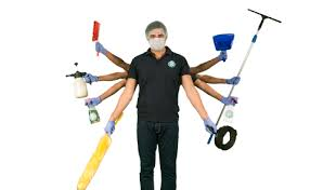 a professional cleaner with 8 hands each holding a cleaning equipment to represent broomberg s cleaning services