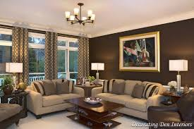 ... Ideas For Painting Living Room Photos Deep Brown Wall Stained Cream  Sofa Pattern Pillows Chandelier Square ...