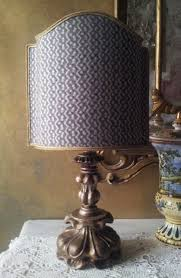 antique italian silvered carved wood table lamp with fortuny fabric lamp shade made in italy