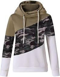 Harness Womens <b>Camouflage Hoodie Sweatshirt</b> Cowl Neck ...