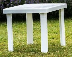 small plastic garden table white square