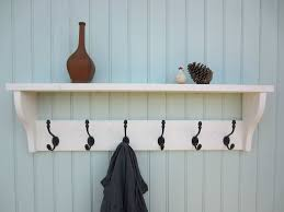 White Coat Rack Wall Mounted shabby chic white washed hat coat rack shelf with acorn hangers AW 16
