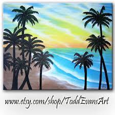 on today 16x20 original on canvas beach sunset trees