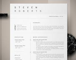 Word Masculine Resume Template Modern Resume Template Etsy