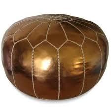 bohemian chic furniture. Bronze Moroccan Pouf Round Eco Leather Bohemian Chic Furniture