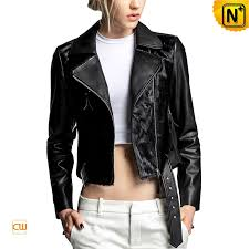 cropped leather biker jacket cw614007 cwmalls com