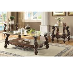 Coffee Table Set Of 3 Acme Furniture Versailles 3 Pc Clear Glass Coffee Table Set