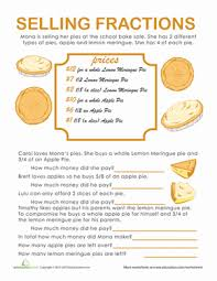 Fraction Word Problems: Pie Time | Worksheet | Education.comFifth Grade Fractions Word Problems Worksheets: Fraction Word Problems: Pie Time
