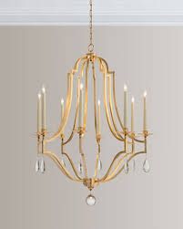 gold leaf crystal 8 light chandelier