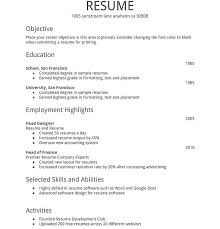 Simple Resume For Job