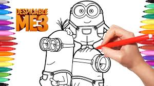 deable me 3 coloring pages how to draw minions minions coloring videos for kids