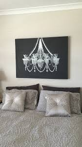 I painted a black and white Chandelier on a large canvas for the bedroom. It