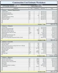 Commercial Construction Budget Template House Construction Estimate Template Residential Budget